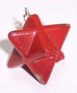 Merkaba din cristal de jasp roscat - ARGINTAT